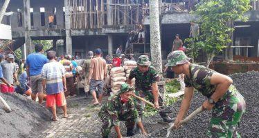Kerja Bakti Koramil 0818/5 Bersama Yon Zipur 5 Wujud Kedekatan TNI – Rakyat