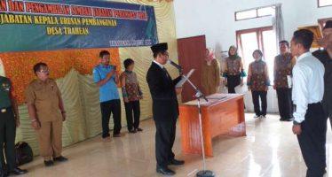 Handhoko Setiawan Kepala Urusan Pembangunan Desa Dilantik Kades Trahean
