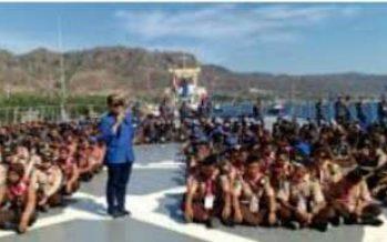 Keliling Naik Kapal, Ratusan Milenial Banyuwangi Ikuti Edukasi Bela Negara